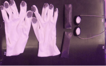 Left to right: Fingernail shields, toes shield, and eye shields.