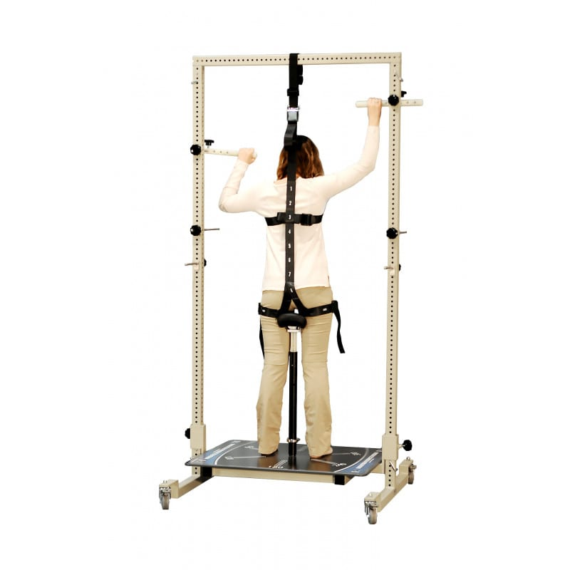 Standing position for anterior-posterior bilateral total body irradiation.