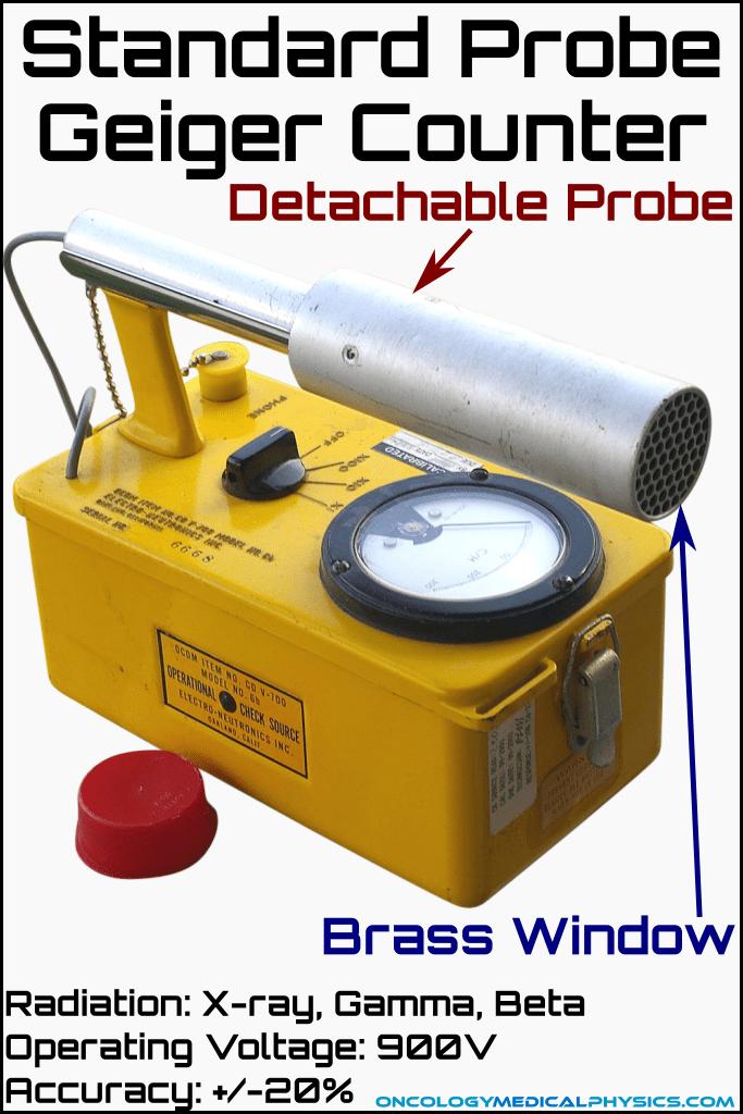 Standard probe style geiger muller (GM) counter radiation detector.